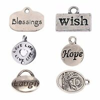 New 10 Antique Wish Hope Laugh Love Life Tibetan Silver Charms Lot Pendant Beads