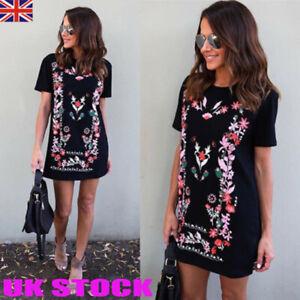 Womens Floral Short Sleeve Summer Dress Ladies Roung Neck Mini Shift Sundress UK