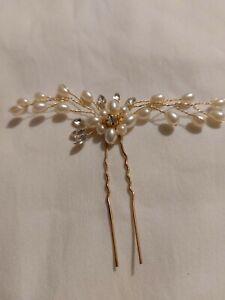 Wedding Bridal Crystal Hair Pins Flower Pearl Rhinestone Bridesmaid Side Clip