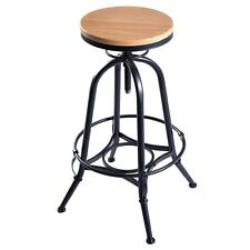 Vintage Bar Stool Adjustable 360 Degree Swivel Solid Wood And Metal Rubber Feet