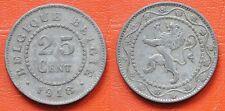 MONETA COIN BELGIO BELGIQUE BELGES BELGIE 25 CENTIMES 1918 GERMAN OCCUPATION WWI
