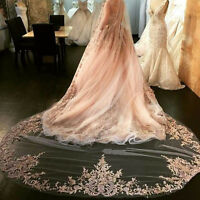 White Ivory Champagne Wedding Veil 1T Lace 3M Cathedral Length Bridal Veil +Comb