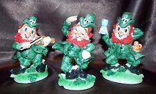 Vintage Lefton Japan St. Patrick's Day Irish Leprechaun Figurines Set of 3 Tags