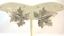 Vintage Silver Tone Boucher Leaf Clip on Earrings *