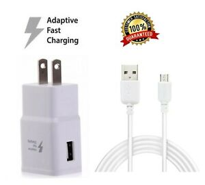 Fast Rapid Wall Charger+Charging Cable Cord For Samsung Galaxy J3 J7 Phone White
