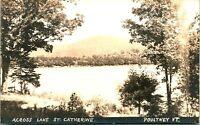 Vtg Postcard RPPC Accross Lake St. Catherine - Poultney, Vermont 1940s Dupont