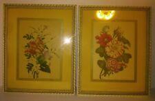 VINTAGE PAIR CHIRAT (Shirat) FRAMED BOTANICAL  FLORAL ART PRINTS Original Frames