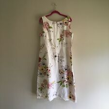 Emma James  Summer/ Fall Dress  Boat Neck Full Cream Floral Crochet Trim size 16