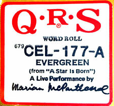QRS (NEW) Celebrity Live Performance EVERGREEN CEL-177-A Player Piano Roll