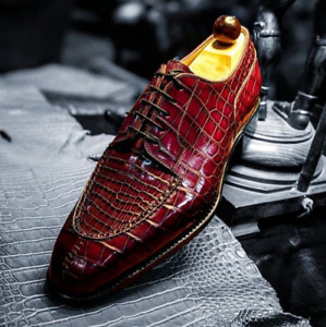 Handmade Men Maroon Lace Up Dress Crocodile Texture Leather Office Shoes