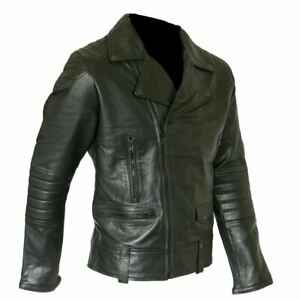 Black Real Leather Jacket Quilted Details Fashion Lambskin AUS SELLER 4X 5X
