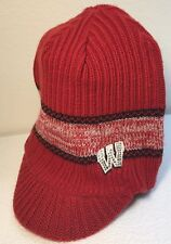 Wisconsin Badgers Knit Beanie With Brim Crystal Rhinestone Bling Winter Hat Cap