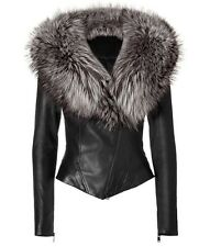 Women's 100 % Lamb Real Fur Collar Leather Jacket !