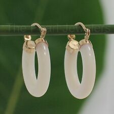 14k Solid Yellow Gold Hook Earrings Made of Genuine White Mother of Pearl