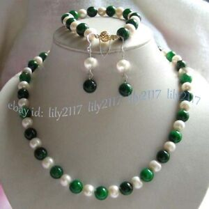 Natural 10mm Green Emerald Round Gems White Pearl Necklace Bracelet Earrings Set