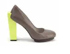 New United Nude Perforated Taupe Leather Funky Heel Platform Shoes sz 40/9.5-10