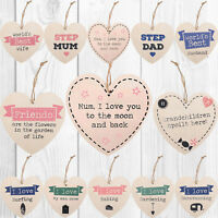 Wooden Heart Shabby Chic Hanging Wall Plaques Friendship Relationship Door Signs