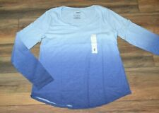 Sonoma Everyday Tee V Neck Long Sleeve T-Shirt Dip Dye Blue Top