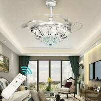 """42"""" Modern Retractable Dimmable Light Remote Control LED Ceiling Fan Lamp"""