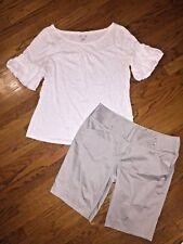 Lot ELLE Sonoma Puff Sleeve Blouse Bermuda Dress Shorts Women's SZ 12 Large !