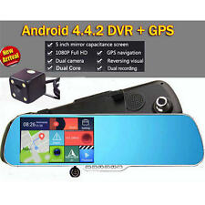 "5"" HD 1080P WIFI GPS Sat Nav Car DVR Rear View Mirror Monitor + Backup camera"