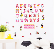 26 Letter Mickey Minnie Mouse Mini Wall Decals Sticker Home Kids Room Decor UK