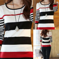 Women's Blouse Fashion T-shirts Shirt Tops Tee Long Sleeve Slim Striped Pullover