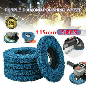 """5Pcs 115mm 4.5"""" Poly Strip Wheel Discs Paint Rust Remover Abrasive Angle Grinder"""