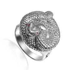 Men's Sterling Silver Snake Ruby Eye Serpent Ring #R1959.