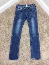True Religion Brand Women Blue Jeans Sz 26 Skinny Black White  100% Cotton #17