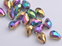 20pcs Teardrop Faceted Crystal Glass Loose Spacer Beads12X8mm Colorized  Plated