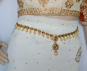 Indian Gold Plated Waist Chain Belt Pearl kamar Bandh Hip Belt Bridal Jewelry