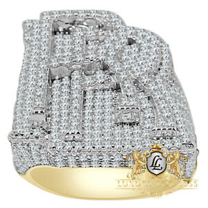 """Mens Real Yellow Gold Sterling Silver """"RR"""" Diamond Custom Luxury Car Ring Band"""