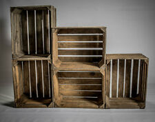 boxes -6 amazing solid vintage wooden apple crates boxes-ground and cleaned!
