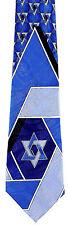 Star Of David Mens Necktie Jewish Religious Hebrew Hanukkah Gift Blue Neck Tie