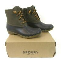 New Sperry Saltwater Duck Boots Brown Green Sz 6M Leather Uppers Womens BR8
