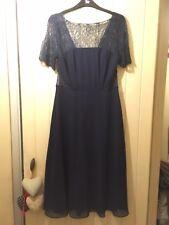 Beautiful ASOS navy Blue Lace & Chiffon Occasion Dress Size 12