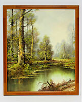 Forest Pond Landscape  20 x 24 Art Oil Painting on Canvas w/Custom Frame