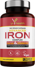 Iron Supplement 180 Vegan Capsules with High Strength Vitamin B12, C, Folic Acid
