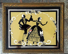 Vintage ART DECO Reverse Painted Mirror Jewelry Box w/ Victorian Couple Dancing
