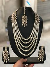 GOLDPLATED KUNDAN WITH PEARL STONE CONTAIN NECKLACE + EARRING + TIKKA+ FREE SHIP
