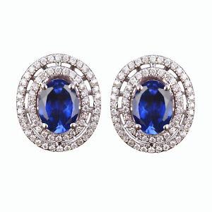 3.70CT Natural Blue Tanzanite & IGI Certified Diamond Studs In 14KT White Gold