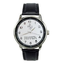 FERRARI Mens Stainless Steel WHITE Dial Black Leather Strap Sport CAR Watch