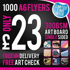 1000 A6 Leaflets / Flyers - 300gsm Coated Art Board - Single Sided - Full Colour