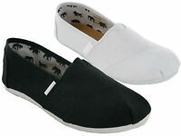 NEW LADIES GIRLES FLAT CANVAS PLIMSOLLS SLIP ON PUMPS PLIMSOLES TRAINERS SHOES