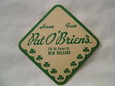 """PAT O'BRIEN'S NEW ORLEANS BEER CARDBOARD COASTER 3 3/8"""""""