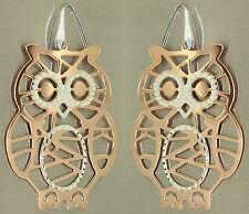 Große Ohrhänger echt Silber 925 Rotgold Eulen - Ohrringe Eulen - Silberohrhänger