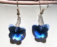 'AAA' GRADE BLUE CRYSTAL GLASS BUTTERFLY EARRINGS SILVER PLATED EARRINGHOOKS