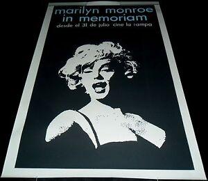 Marilyn Monroe In Memorian ORIGINAL CUBAN TRIBUTE POSTER Havana La Rampa Theater