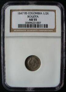 COLOMBIA NGC COIN 1/2 REAL BOGOTA  1847 RS  AU 55